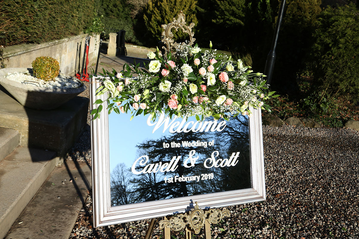 floral-mirror-wedding-welcome-sign
