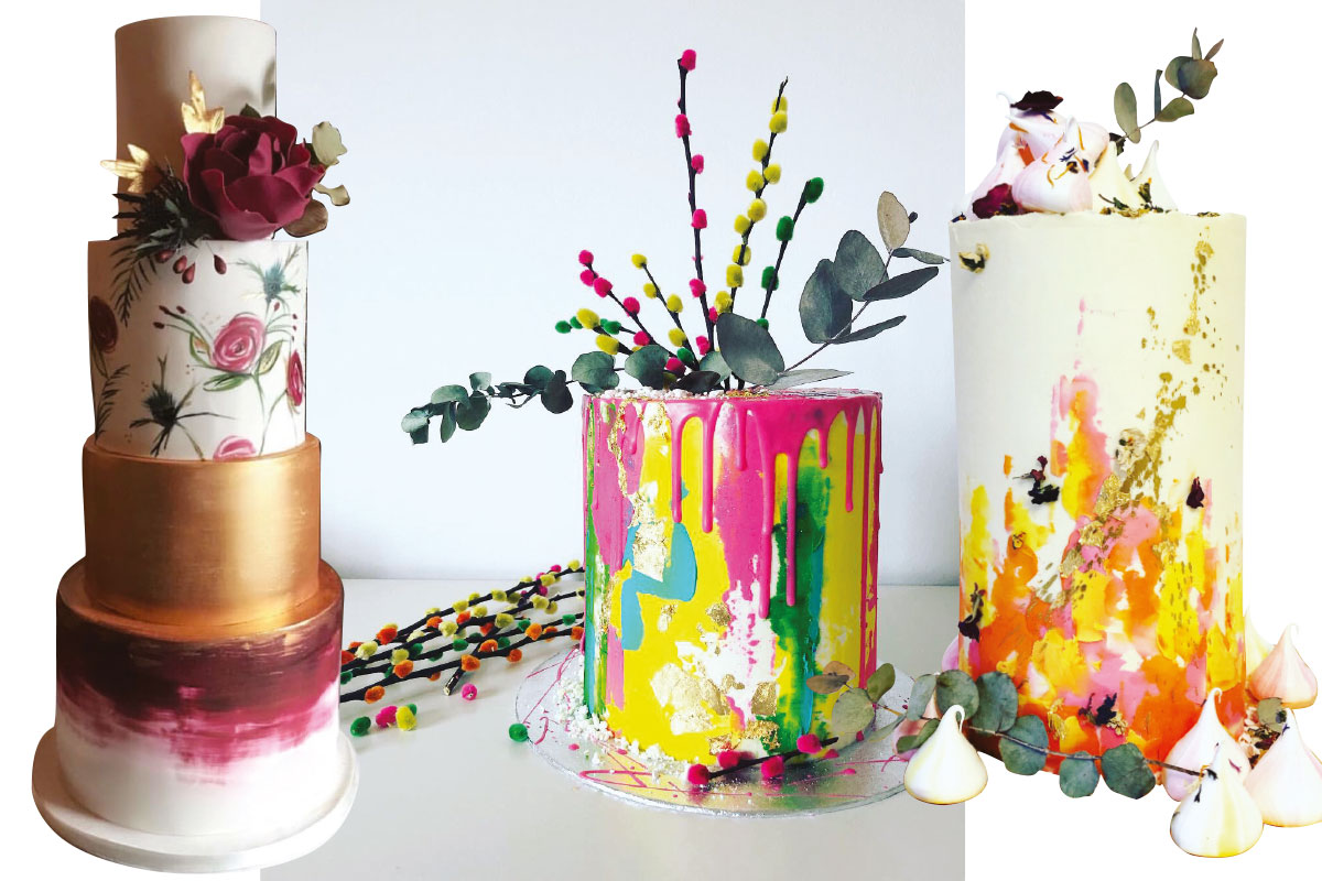 three-rainbow-wedding-cakes