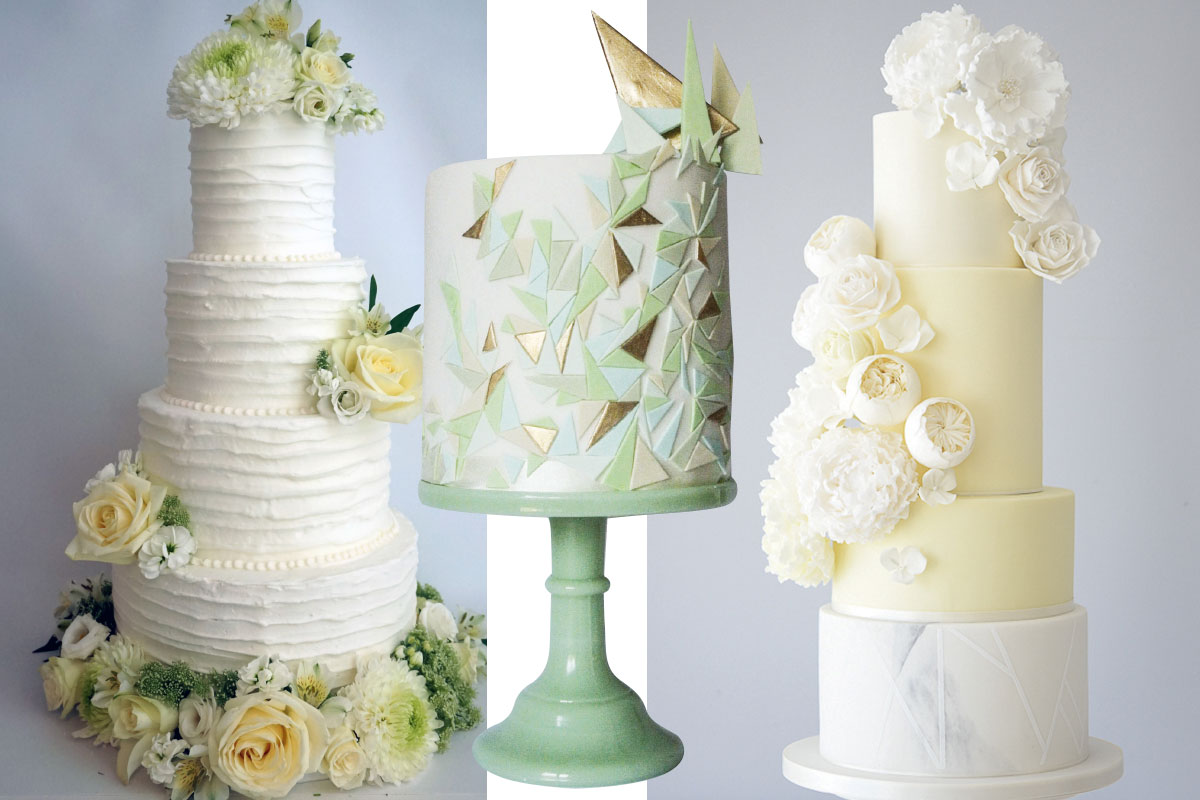 three-green-and-cream-wedding-cakes