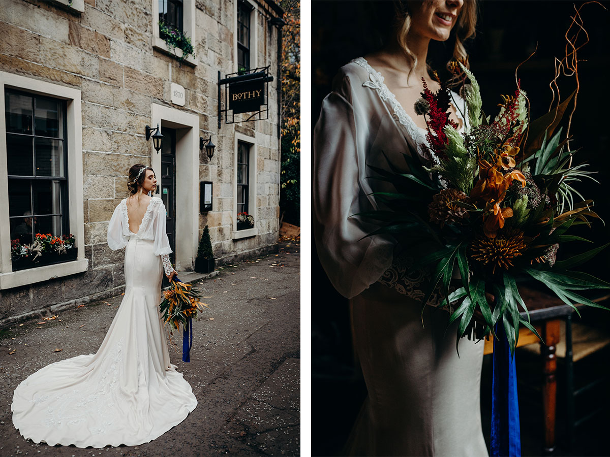 bride-in-dress-with-big-sleeves-and-rustic-flowers