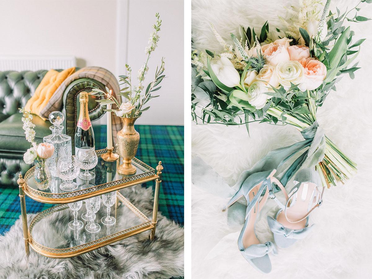gold-bar-cart-and-pastel-bridal-bouquet
