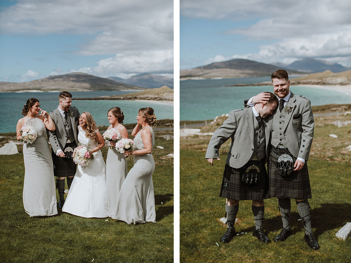 bride-and-groom-with-bridesmaids-overlooking-Harris-beach