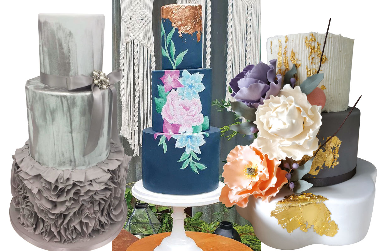three-metallic-wedding-cakes