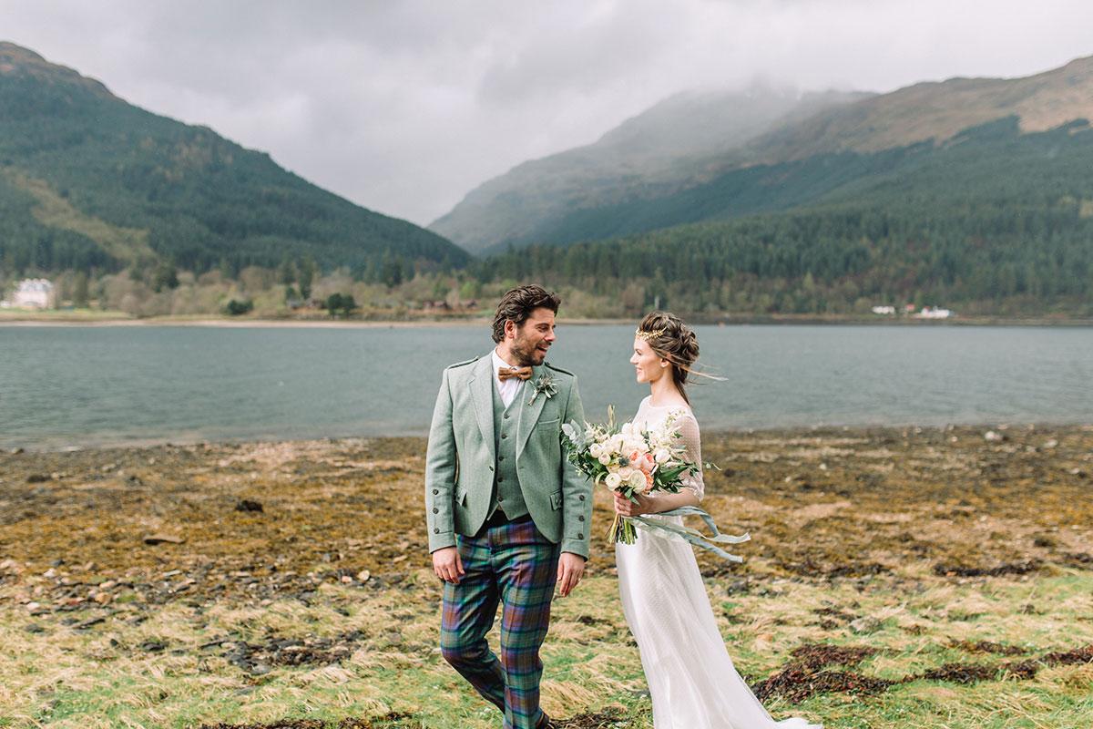bride-and-groom-on-shores-of-loch