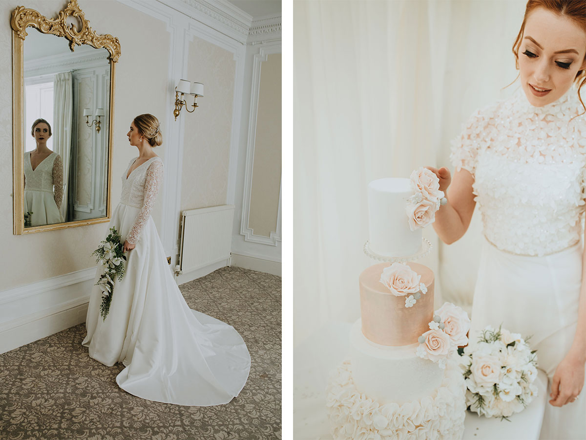bride-looking-in-ornate-mirror-and-cutting-wedding-cake
