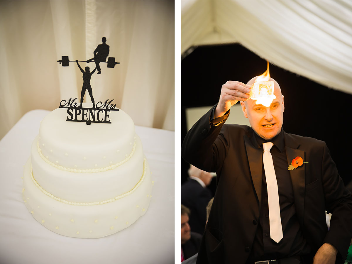 wedding-cake-with-black-cake-topper-and-magician-doing-trick