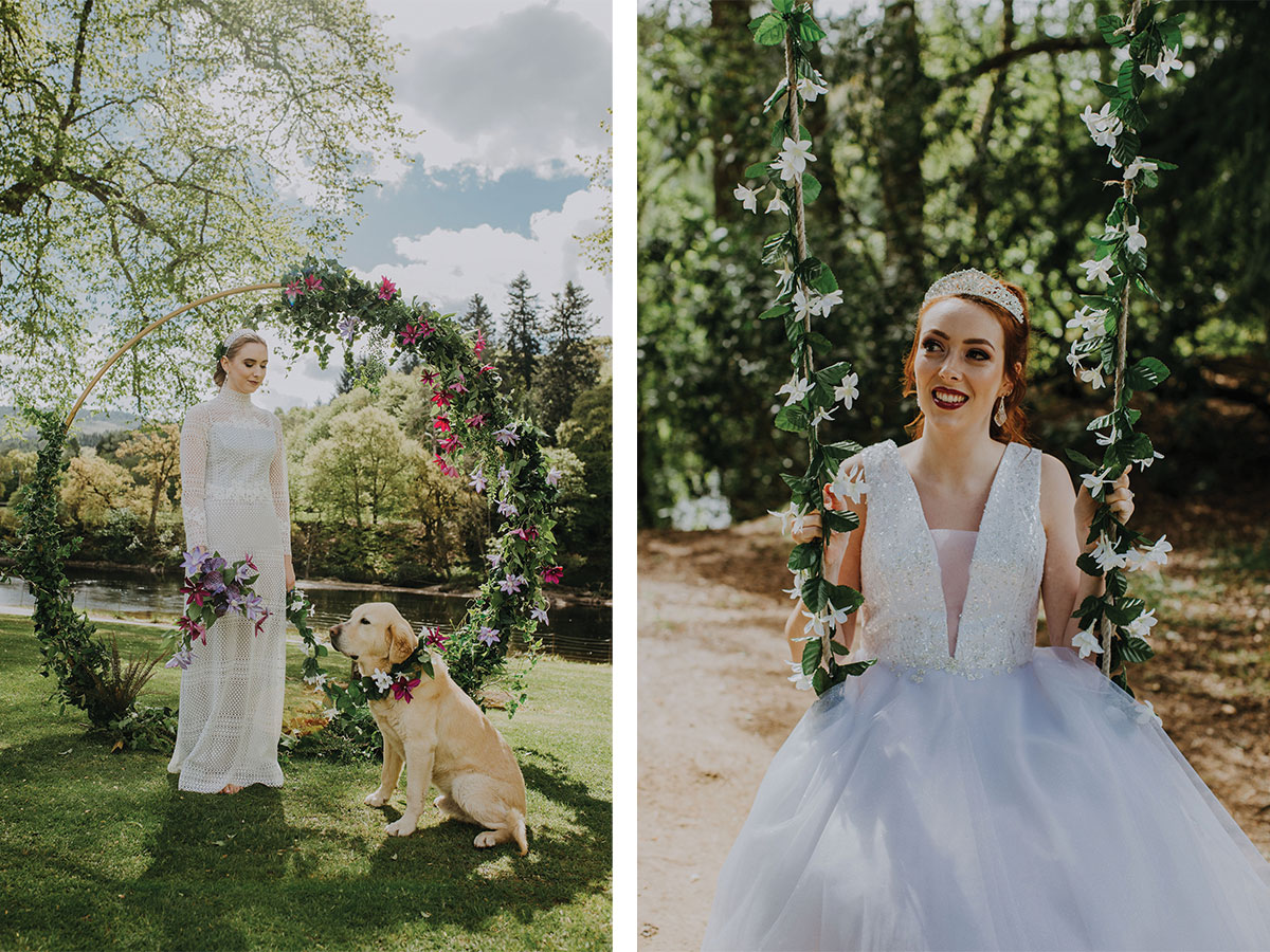 bride-with-dog-and-bride-on-flowery-swing