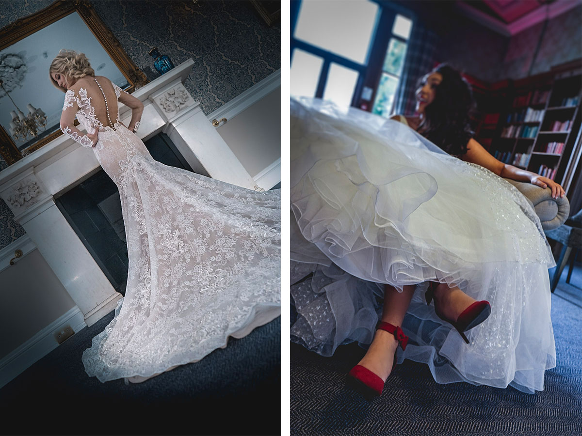 bride-wearing-illusion-lace-gown-and-bride-wearing-red-heels-and-lace-dress