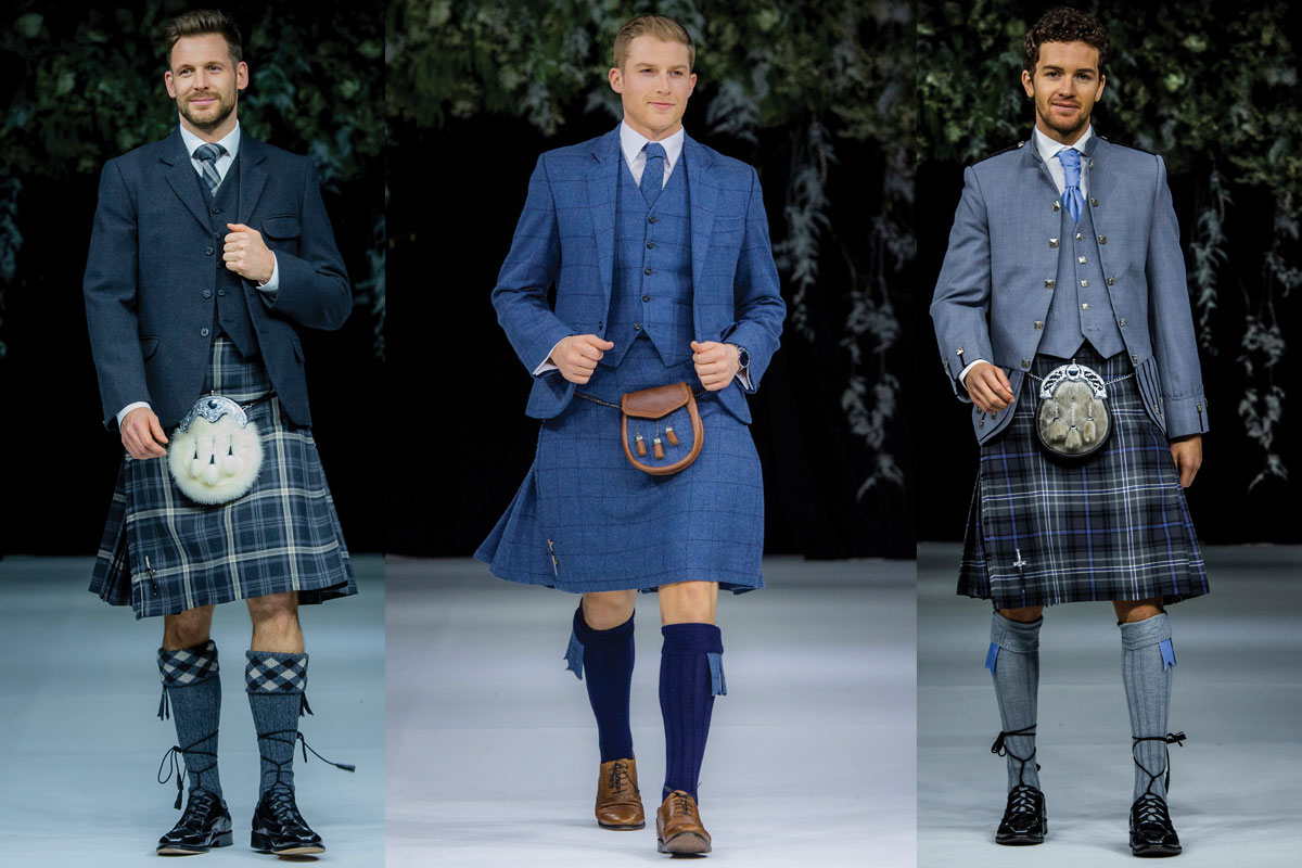 three blue kilt outfits