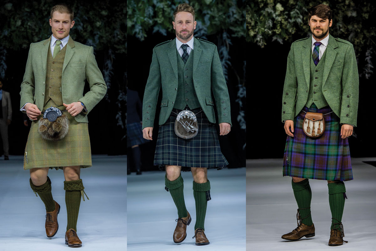 three green kilt outfits