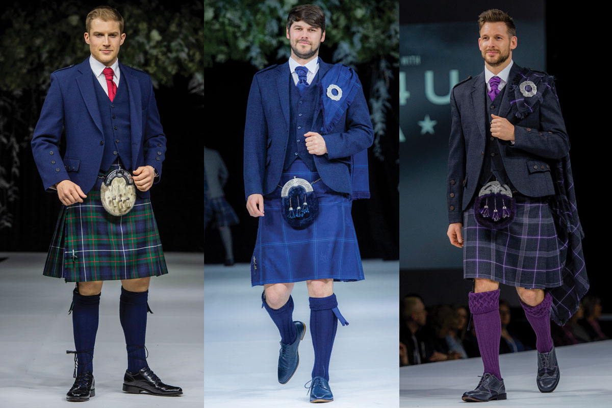 two kilt outfits with fly plaids and one blue outfit with red tie
