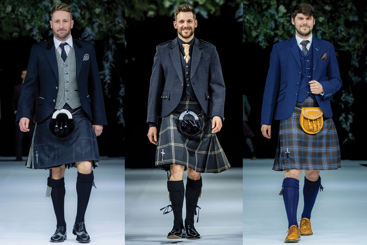 three outfits from scottish wedding show catwalk