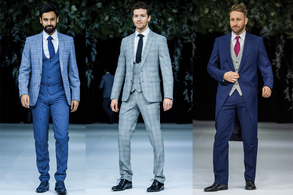 three suit outfits in blue and gray