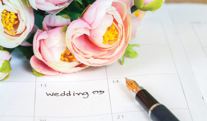 wedding-calendar-with-flower-on-it