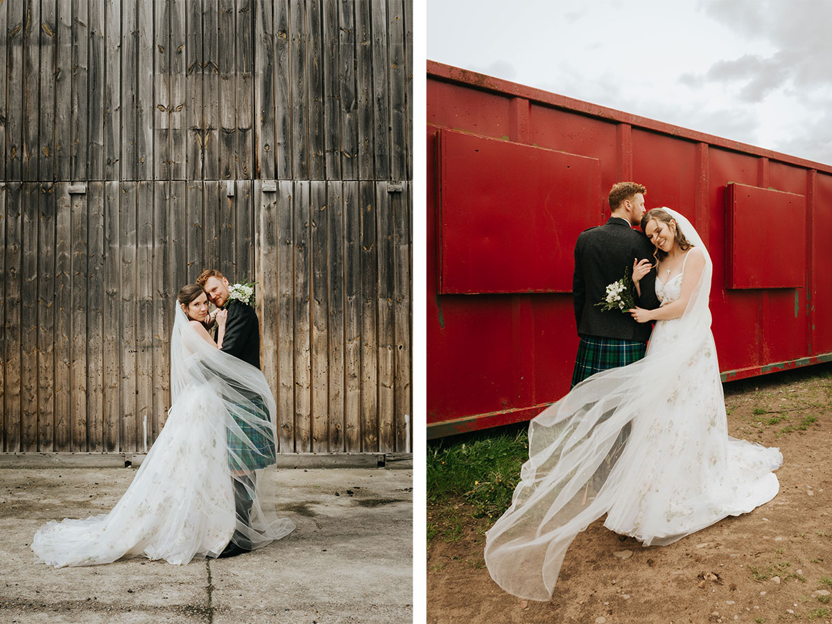 bride-and-groom-posing-in-front-of-barn-and-red-wall