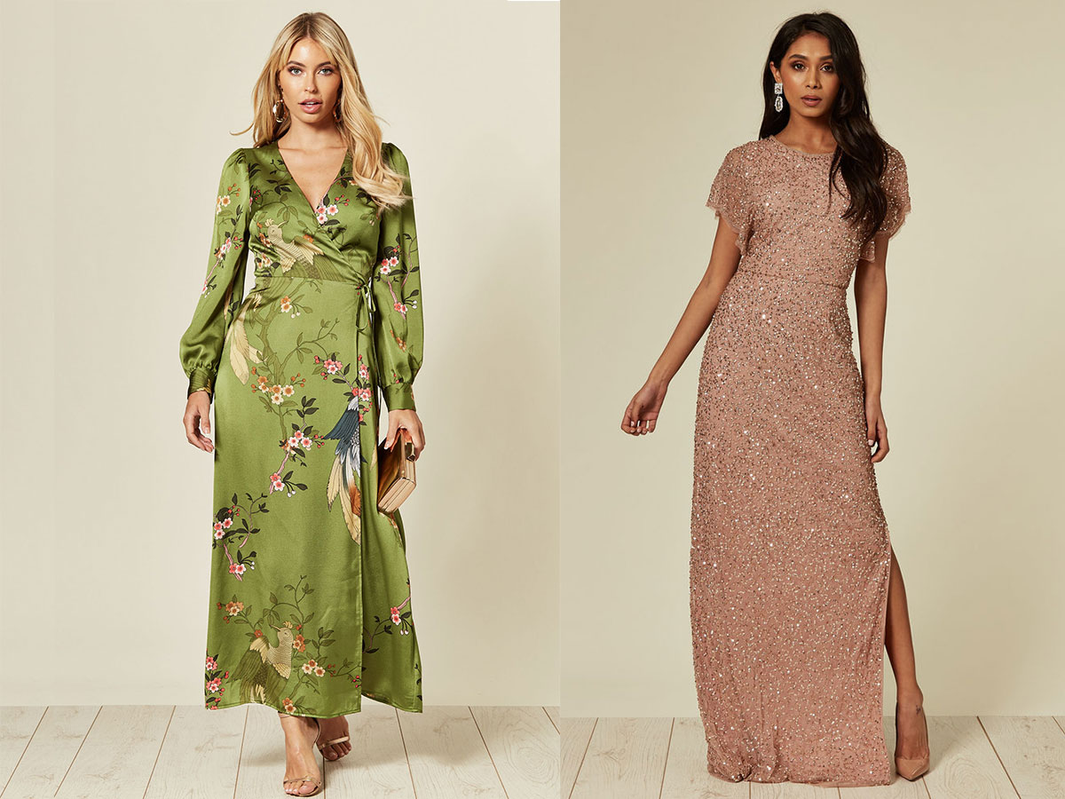 silkfred-patterned-green-dress-and-peach-dress