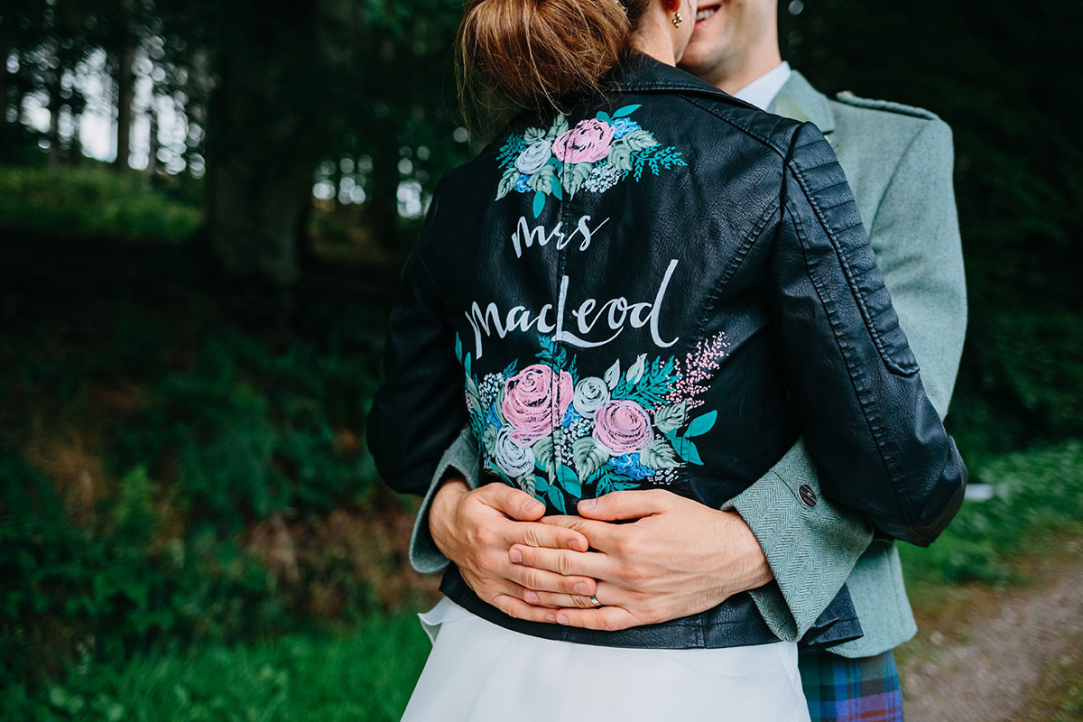 bride-wearing-personalised-leather-jacket