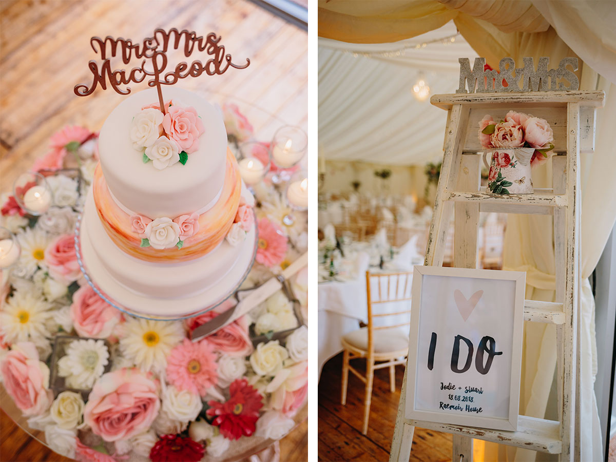 wedding-cake-on-floral-stand-and-white-ladders-covered-in-decorative-items