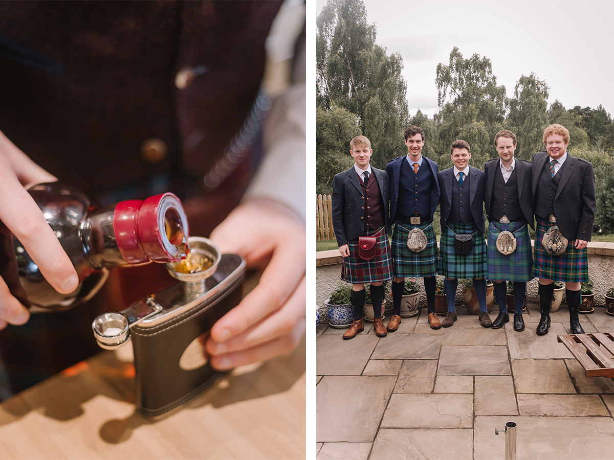 groom-pouring-whisky-and-groom-with-groomsmen