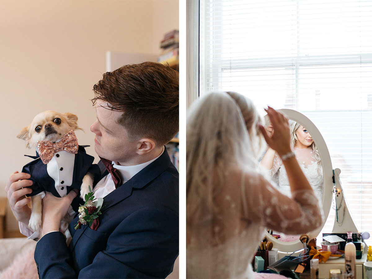 groom-with-dog-and-bride-getting-ready
