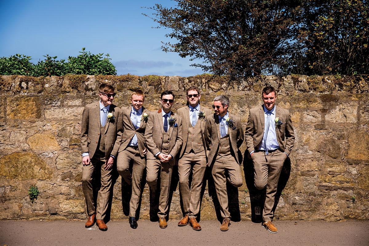 groom-and-groomsmen-in-brown-tweed-suits