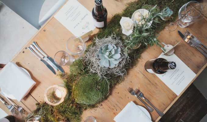 Moss and succulent table runner by Jennifer Morrison Florist