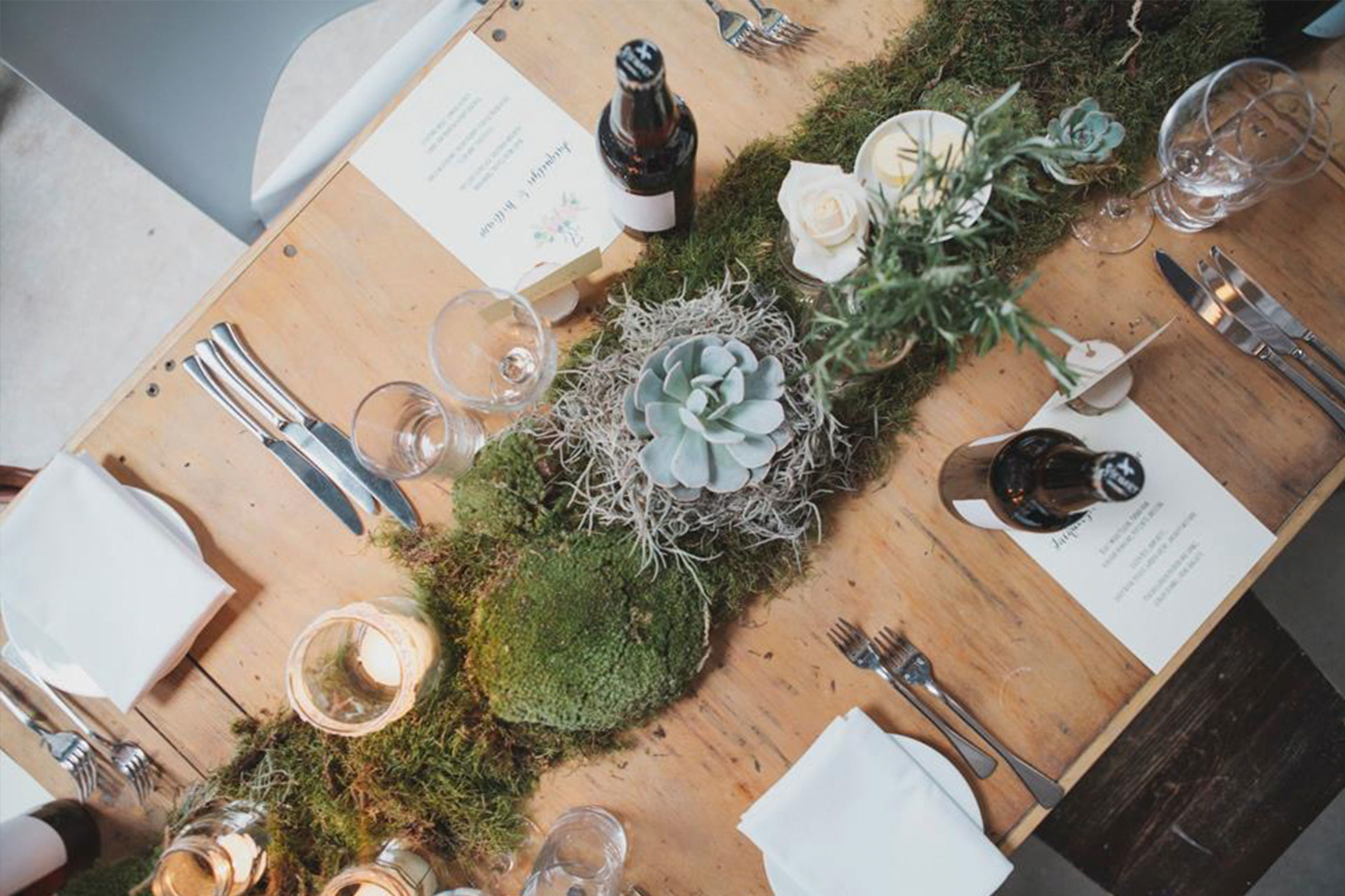 Moss and succulent table runner by Jennifer Morrison Florist