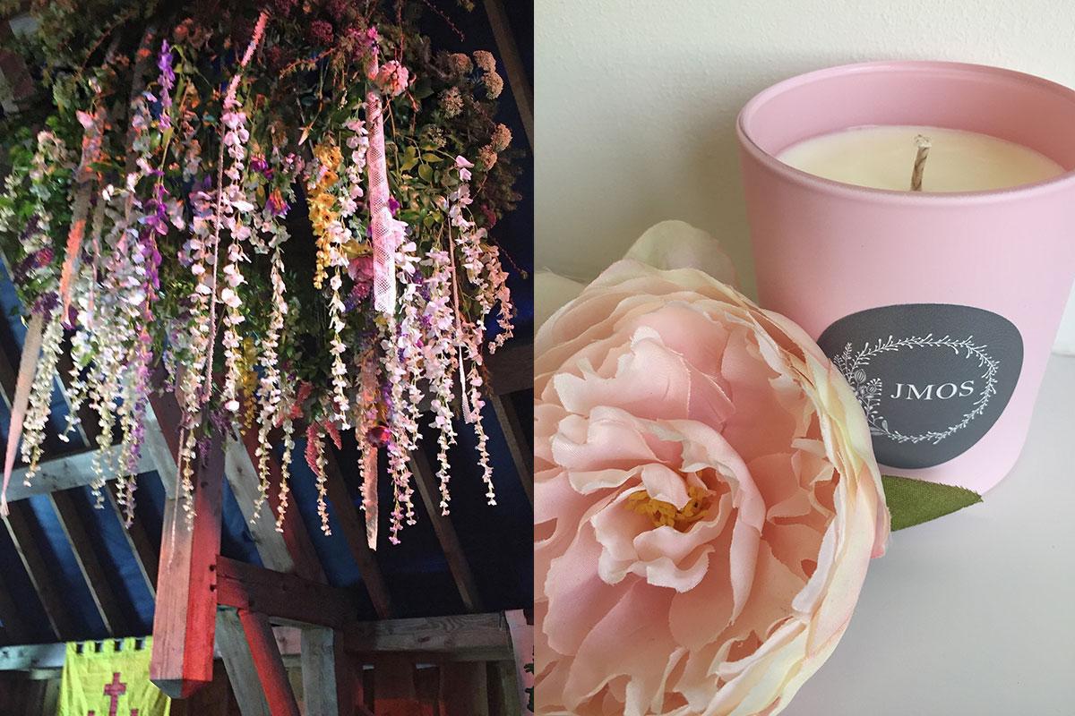 Floral chandelier and Jennifer Morrison Florist branded candle