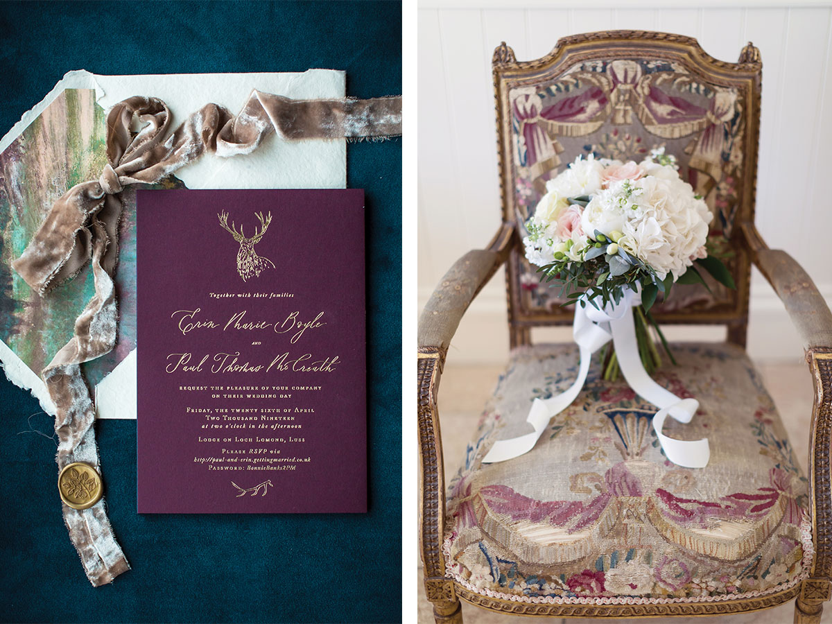 deep-red-and-gold-invite-and-bridal-bouquet-on-chair