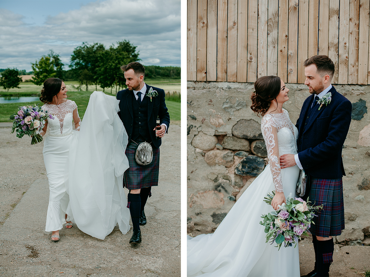 bride-and-groom-walking-through-farm-grounds