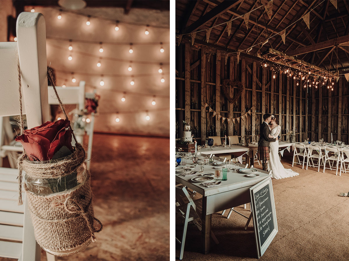 barn-with-fairy-lights-and-picnic-chairs-set-up-for-ceremony