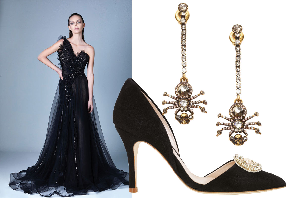 black-dress-and-heels-with-spider-earrings
