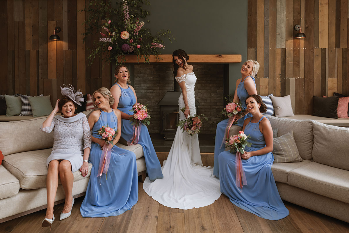 bride-and-bridesmaids-in-blue-dresses