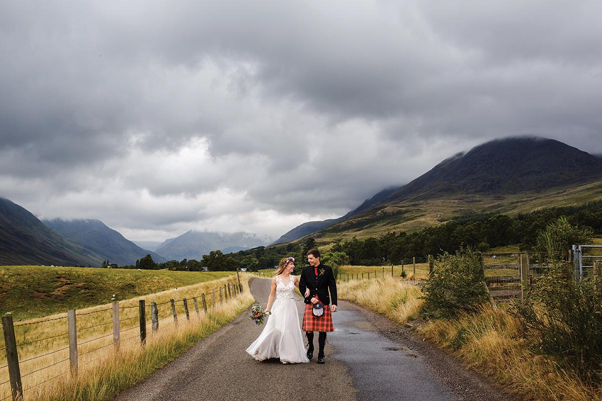bride-and-groom-walking-near-glen-clova-hotel