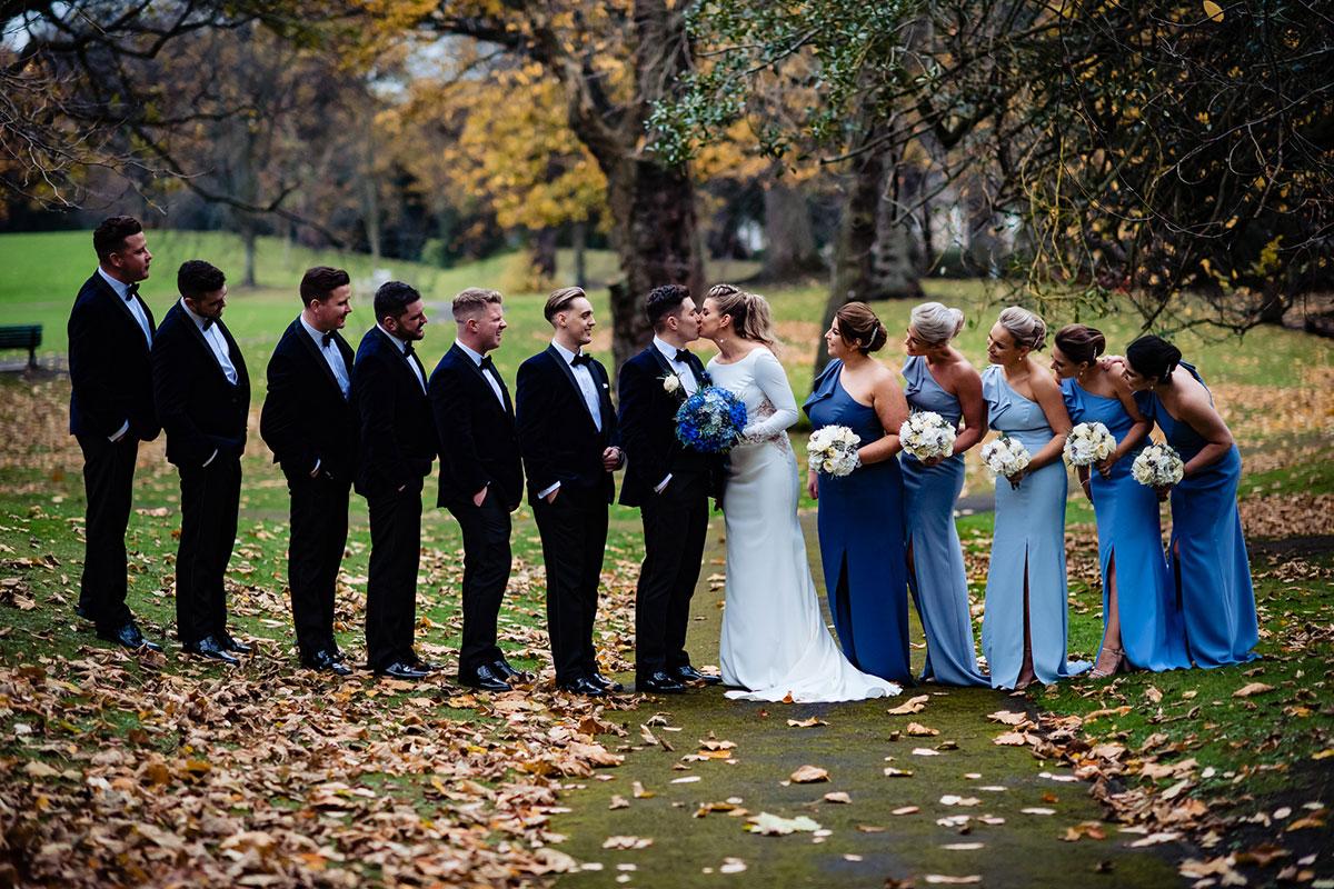 bridal-party-posing-in-gardens