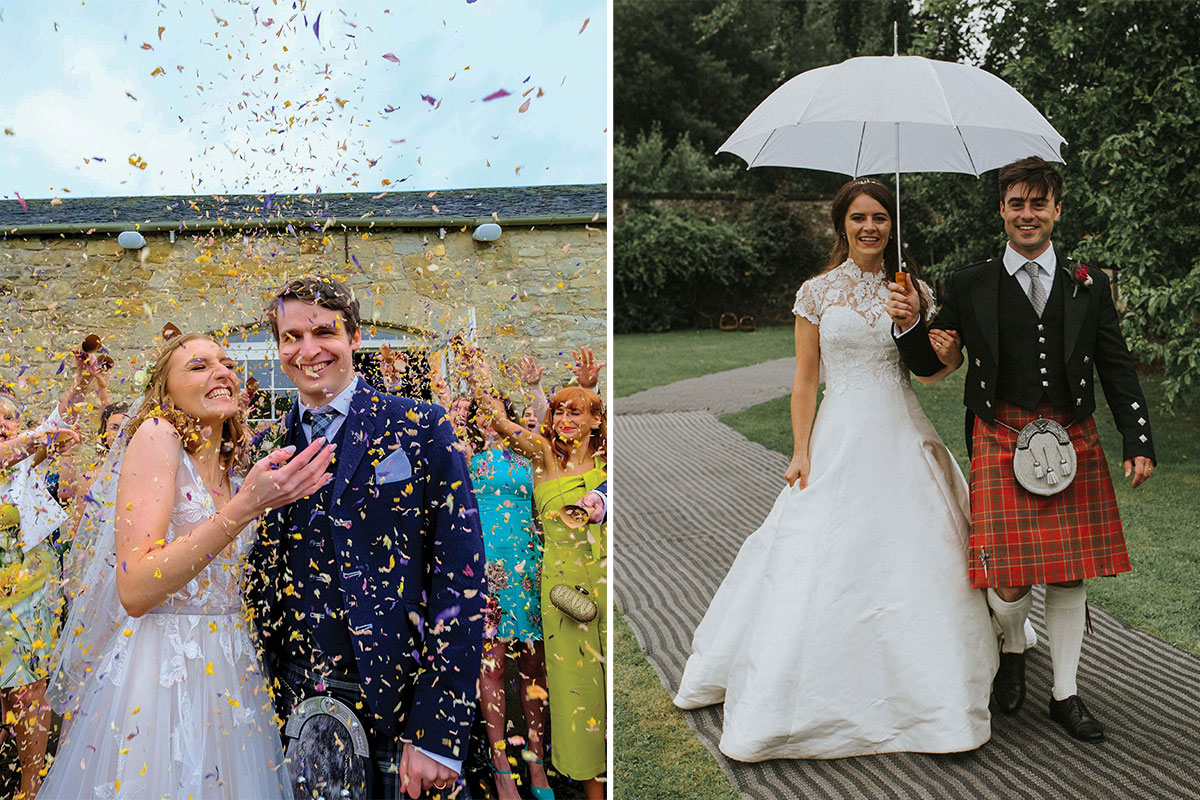 bride and groom with confetti; bride and groom with umbrella in the rain