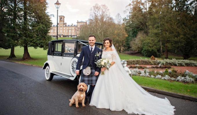 bride-groom-and-dog-outside-dunblane-hydro
