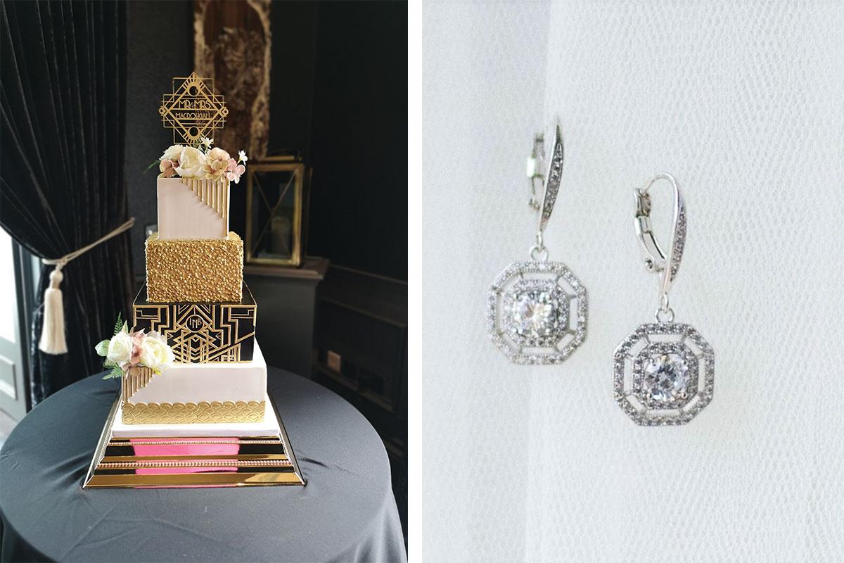 art-decor-earrings-and-wedding-cake