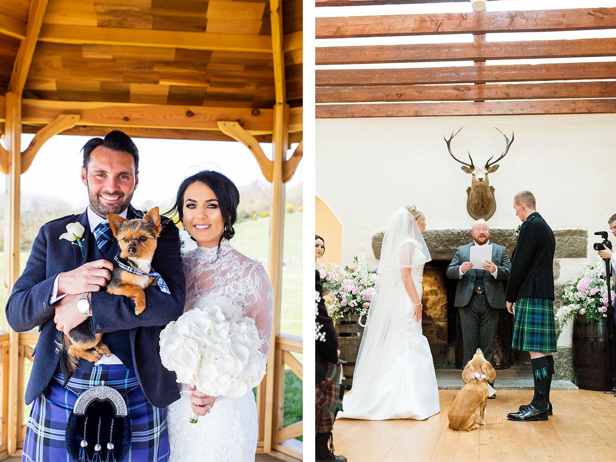 bride-and-groom-holding-dog-in-gazebo-and-dog-at-wedding-ceremony