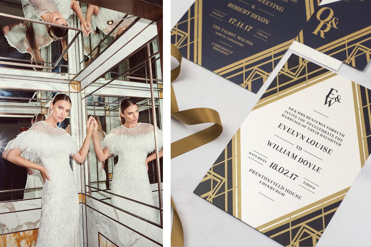 feathered-wedding-dress-and-art-deco-wedding-invitiation