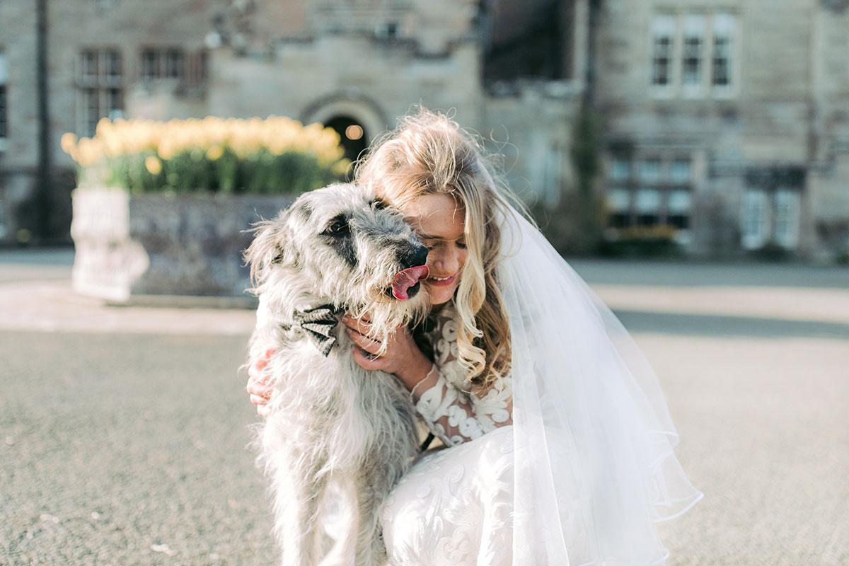 bride-and-shaggy-dog-outside-glenapp-castle