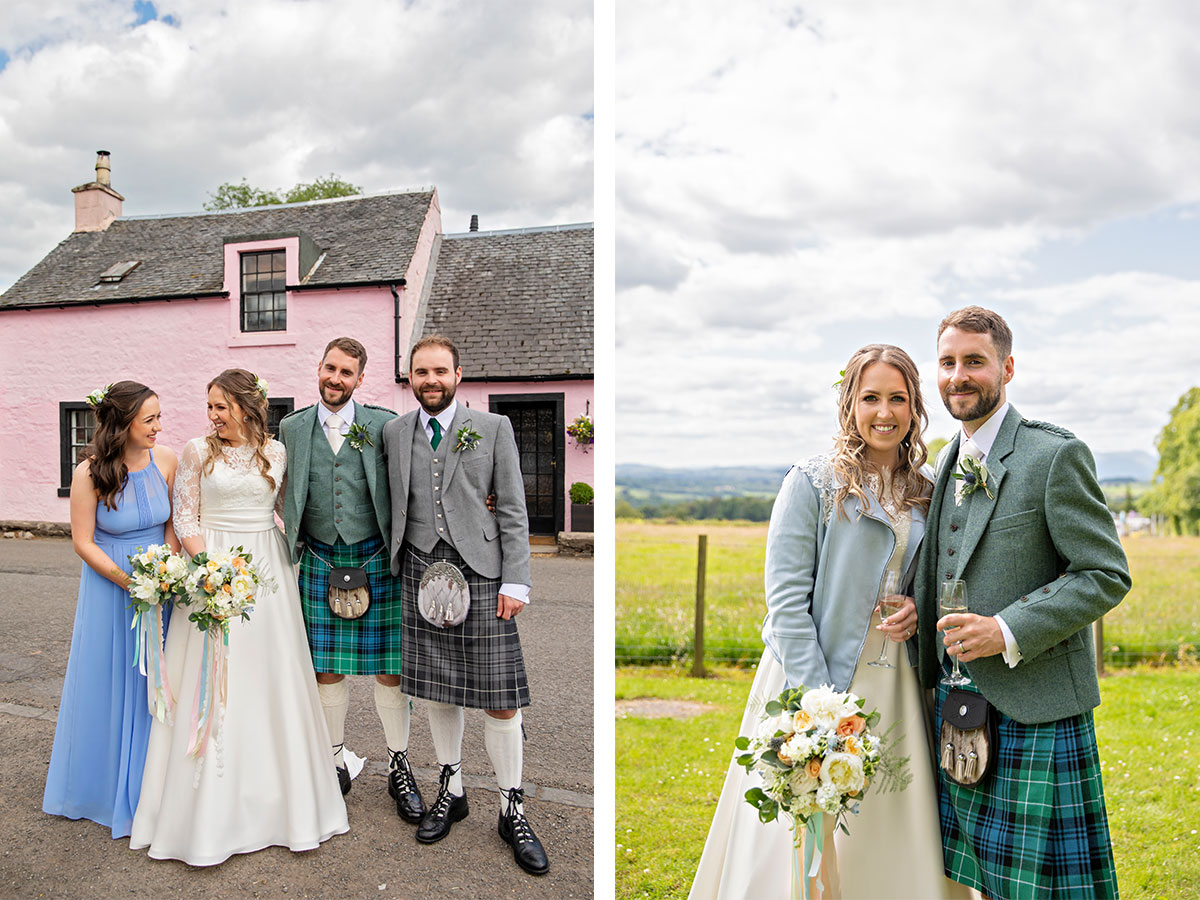bridal-party-in-field-and-in-front-of-pink-cottage