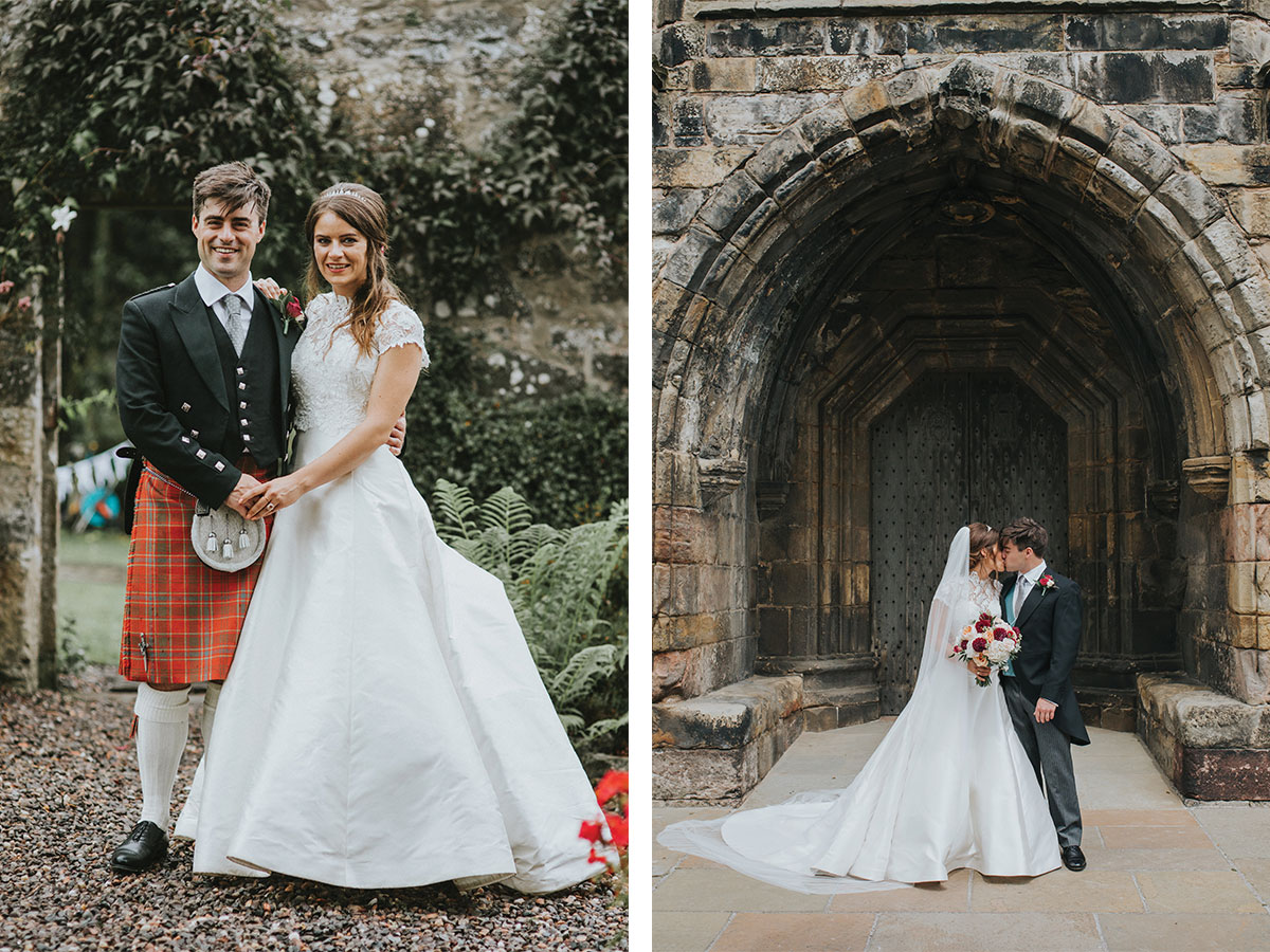 bride-and-groom-wearing-red-tartan-kilt