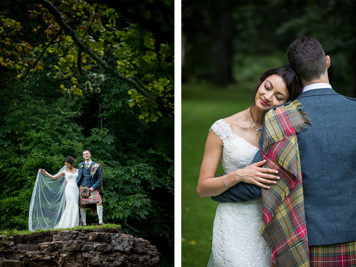 bride-and-groom-in-melville-castle-grounds