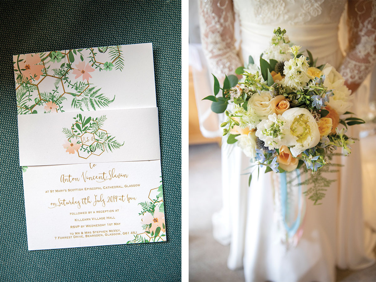 caligraphy-invitation-and-bridal-bouquet-with-ribbon-tie