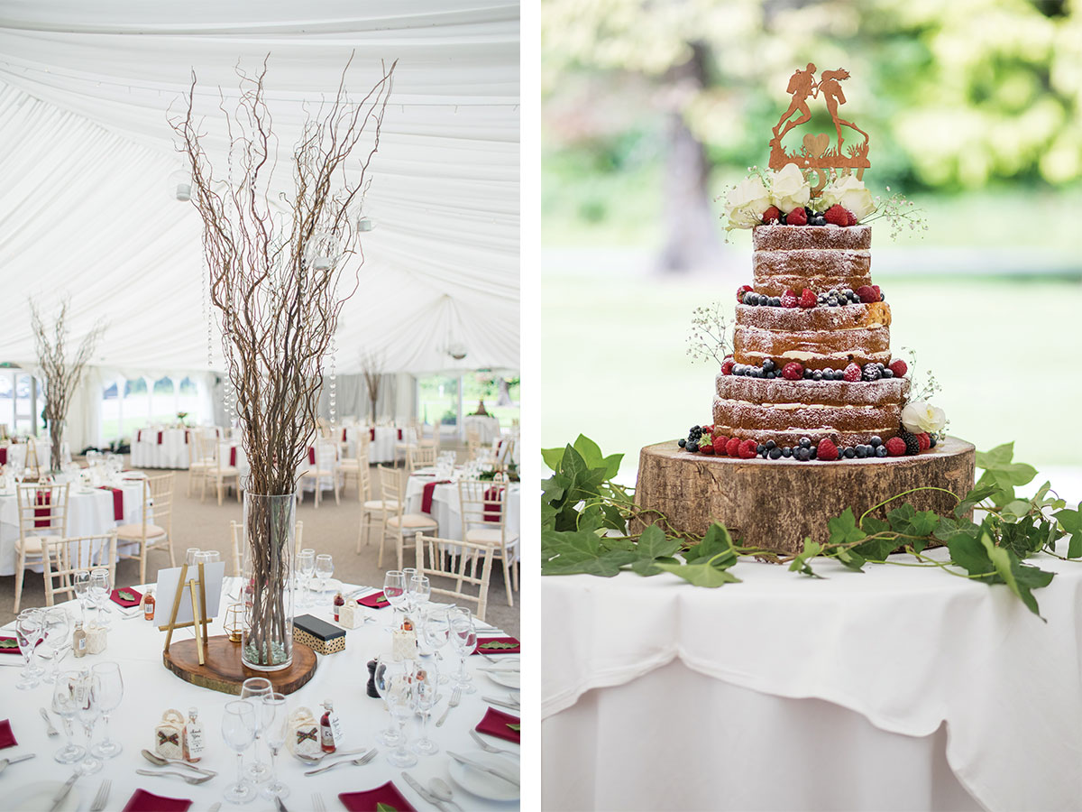 centrepieces-on-reception-tables-and-naked-wedding-cake
