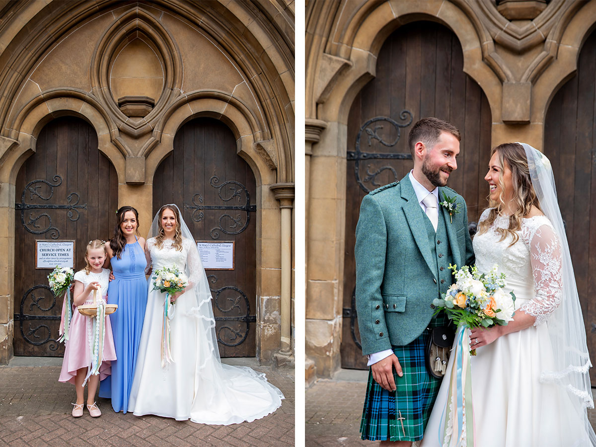 bride-in-la-novia-dress-with-bridesmaid-and-groom-in-kilt-outfit