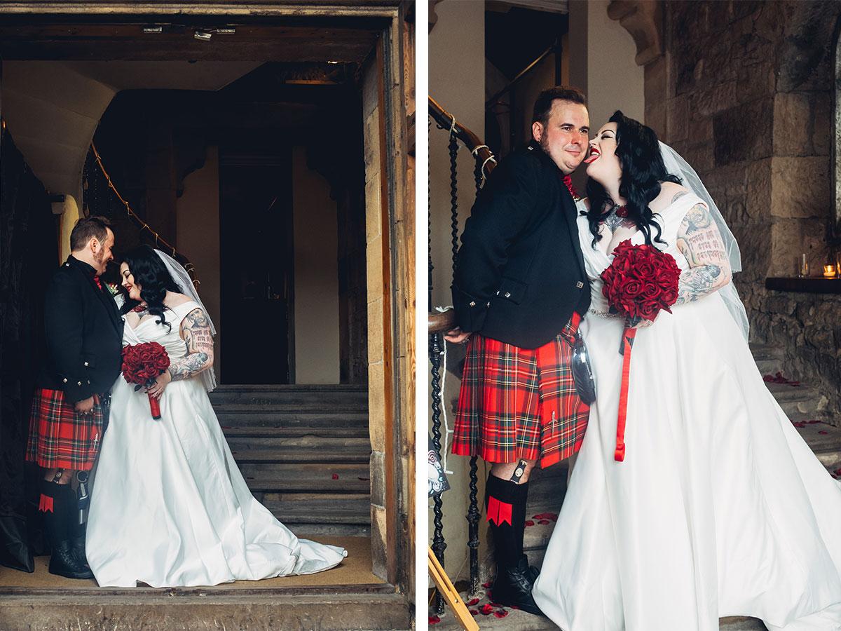 bride-and-groom-posing-on-steps-of-Oran-Mor