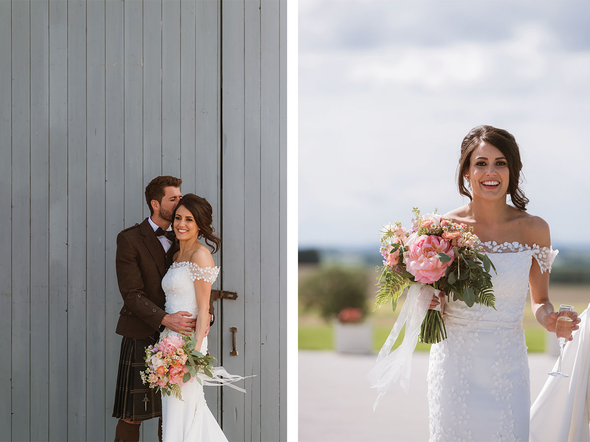 bride-and-groom-against-barn-backdrop