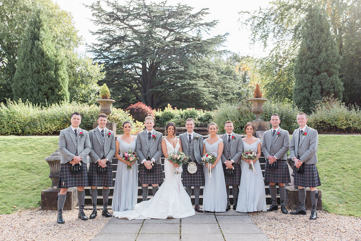 bridal-party-in-grey-kilt-outfits